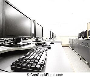 lieu travail, salle, à, ordinateurs, dans, rang
