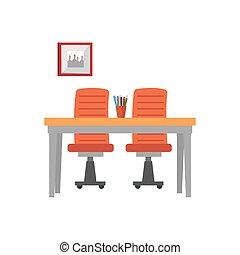 lieu travail, scène, icônes bureau