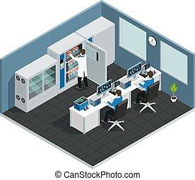 lieu travail, scientifique, isométrique, laboratoire