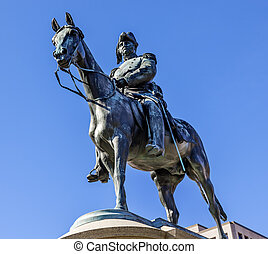 Lieutenant General Winfield Scott Memorial Statue Scott Circle Washington DC. Bronze statue dedicated in 1874; sculptor is Henry Kirk Brown. Public monument owned by the National Park Service. Statue depicts Scittriding his horse. Scott was a famous General in the Mexican War, who was head of the ...