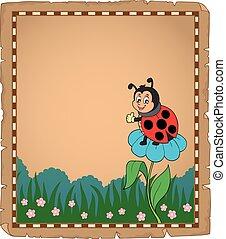 lieveheersbeest, bloem, perkament