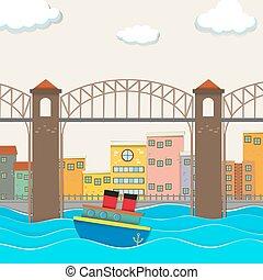 liez affichage, bateau, ville