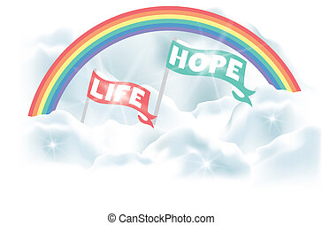 Life and hope - in heaven under the rainbow - Vector eps 10