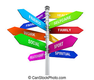 Life Balance Sign - Colorful Direction Sign of Life Balance...
