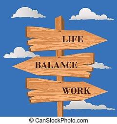 Life, balance, work street sign, choice concept, vector illustration