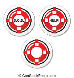 Life belt, help, s.o.s. vector icon