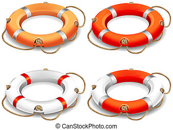 Life belt - Vector illustration - rescue life belt icons