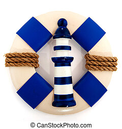 life buoy and light house in blue isolated over white