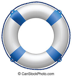 life buoy blue against white background, abstract art illustration