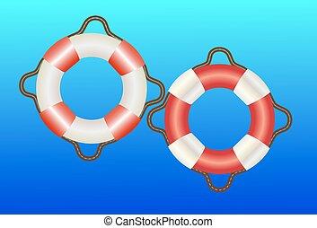 life buoy on blue background