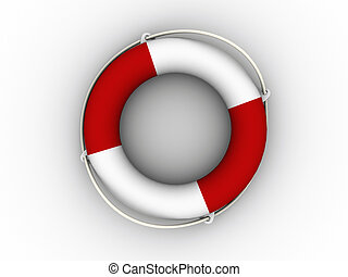 Life buoy - Red and white life buoy on white background - 3d...