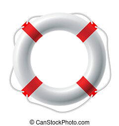 Life buoy - Detailed vector illustration of a white life...