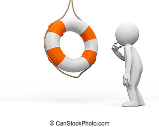 Life buoy - a people is standing in front of a life buoy...