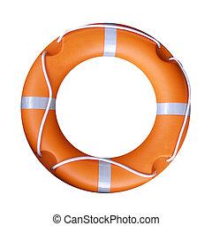Isolated orange life buoy