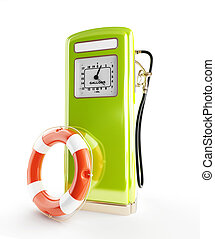 life buoy old gasoline filling 3d Illustrations on a white background