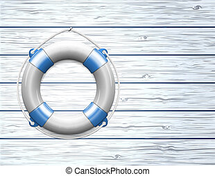 Life Buoy on a Wooden Paneled Wall with Copy Space. Vector illustration