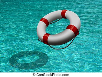 life buoy on blue water