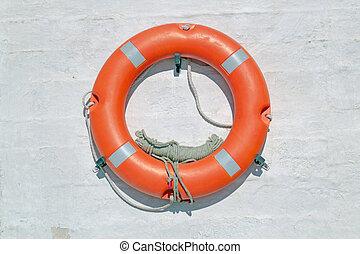 Life buoy on ferry crossing the mediterranean sea to Santorini island, Greece