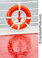 life buoy on sea cruise liner in rainy day