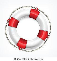 Life buoy on white - Life buoy with rope isolated on white...