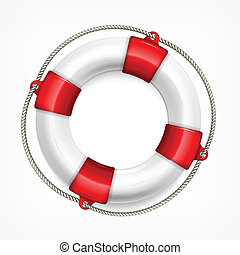 Life buoy with rope isolated on white background, vector illustration