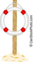Life buoy on wooden stand