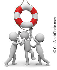 Life buoy - Three people is fighting for a life buoy