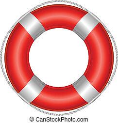 Life Buoy - Red Life Buoy, Isolated On White Background,...