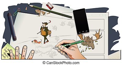 life., carton, chasseur, hunting., chien