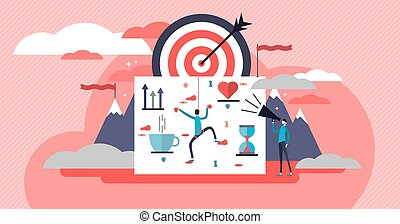 Life coach vector illustration. Self growth work artistic flat poster.