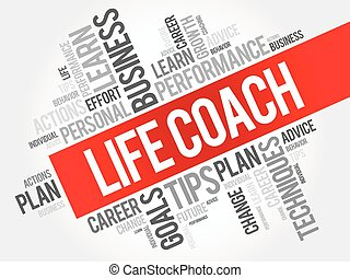 Life Coach word cloud collage, business concept background