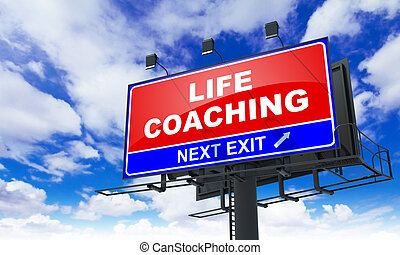 Life Coaching Inscription on Red Billboard.