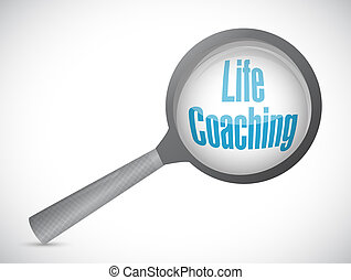 life coaching magnify glass sign icon concept
