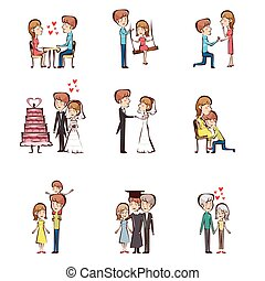 Life cycle of a couple - A vector illustration of life cycle...