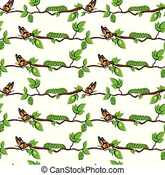 Life cycle of butterfly, metamorphosis seamless pattern.