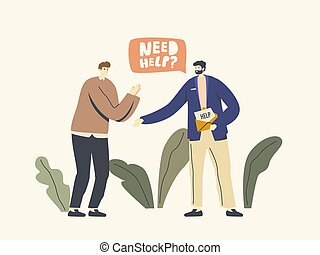 Life Difficulties and Hardship Concept. Male Character in Need Request Friend for Help. Desperate Man Asking for Support. Financial or Health Problem, Danger. Linear People Vector Illustration