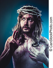 life, Easter jesus christ, son of god representation with crown of thorns and wounds of Calvary skin
