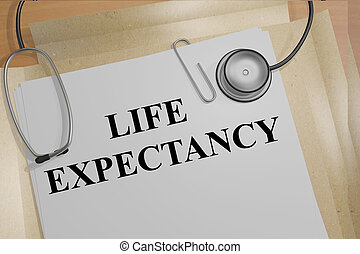 Life Expectancy medical concept - 3D illustration of 'LIFE...