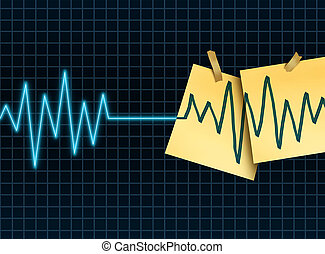 Life extension concept as a medicine and medical science symbol for slowing down or reversing the process of aging as an ekg or ecg lifeline death flatline with taped office notes extending the the lifesespan of a patient or organ donation and transplant.