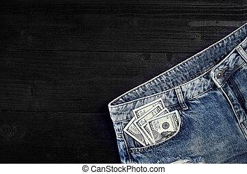 life., farmernadrág, készpénz, -e, pocket., mozdulatlan