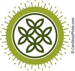 Life Flower symbol vector logo isolated on white background.
