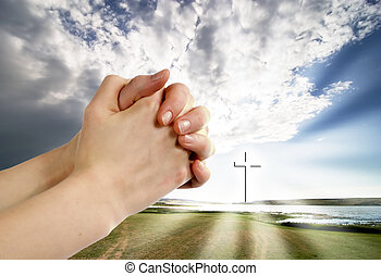 A beautiful prairie lake landscape with a cross. Life giving water.