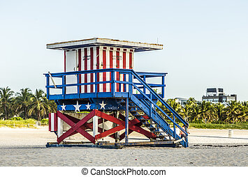 life guard tower on South Beach, Miami - life guard tower on...