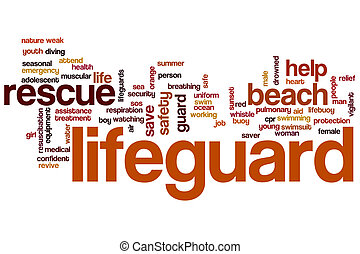 Life guard word cloud concept