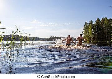 life., homem, ativo, day., mãos, mulher, claro, nade, quentes, divertimento, verão, lago, ter, ter, floresta, turista