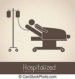 life icons - Illustration of Life icons, hospitalized with ...