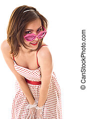 Life in pink glasses. Funny young woman