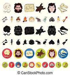 Life in the Stone Age cartoon icons in set collection for design. Ancient people vector symbol stock web illustration.