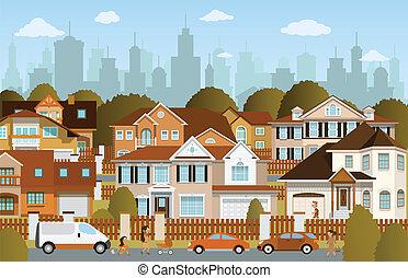 Vector illustration of life in the suburbs (autumn)