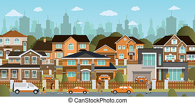Vector illustration of life in the suburbs (people, buildings, cars)
